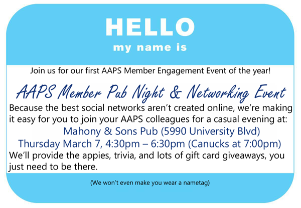 AAPS Members youre invited to our first networking event AAPS